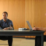 """In this image released by FX, Cuba Gooding Jr. portrays O.J. Simpson, left, in a scene from """"The People v. O.J. Simpson: American Crime Story,"""" a 10-part series debuting Tuesday, Feb. 2, at 10 p.m. EST Tuesday. (Ray Mickshaw/FX via AP)"""