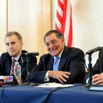 "From left, Dr. Eduardo Ochoa, president of Cal State Monterey Bay, former Secretary of Defense Leon Panetta, and Timothy White, chancellor of California State University, at a press conference prior to Panetta's ""Welcome Home"" reception on Thursday at CSUMB's University Center."