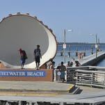 The seating area in front of the iconic shell will be covered with a large awning as improvements are made to Quietwater Beach ahead of a ferry service opening in the spring.