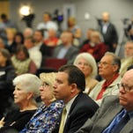 Washoe County School District Superintendent Pedro Martinez, center front, listens to public comment during a meeting of the Washoe County Commission concerning tax bill AB46 in 2013. With him are school board trustee Barbara L. McLaury, left, board President Barbara Clark, and trustee John R. Mayer, right.