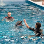"""Cozi Zuehlsdorff, rear, as Hazel Haskett, and Nathan Gamble, right, as Sawyer Nelson, are shown in a scene from the film, """"Dolphin Tale 2."""""""
