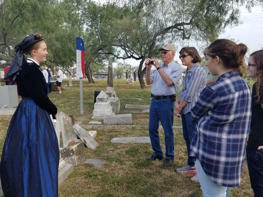 Historical reenactor Kassidy Loveday, 14, retells the story of Mary Grace Swift-Maltby during Voices of South Texas on Saturday, Nov. 5, 2016, at Old Bayview Cemetery.
