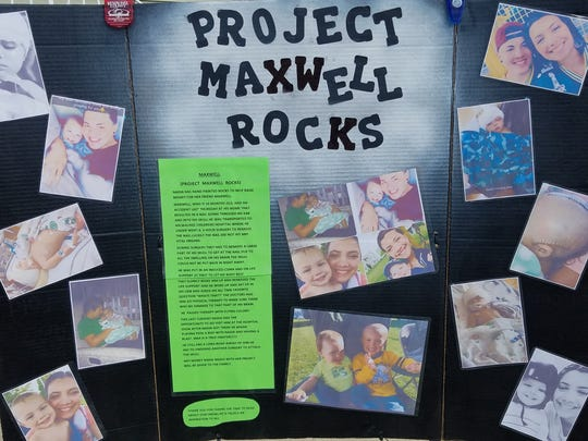 "Nadia Salinas, 7, of Manitowoc, has raised more than $600 for her 1-year-old friend Max through ""Project Maxwell Rocks."""