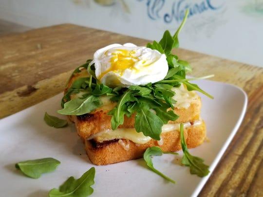 The Caroline, an open-faced breakfast sandwich from