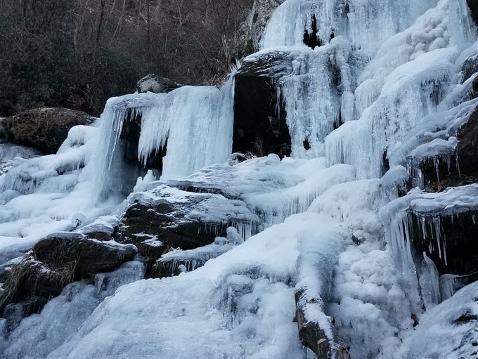 Catawba Falls, in Old Fort, N.C., were frozen over