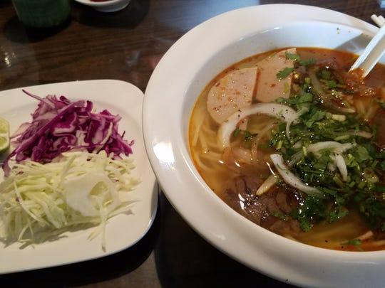 The Bun Bo Hue is a richer, sharper soup — one of 10