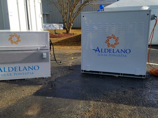 Aldelano Solar PowerPaks are off-grid power supplies with battery storage.