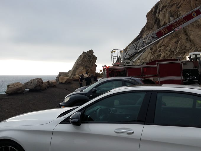 This was the scene Friday afternoon at Mugu Rock after