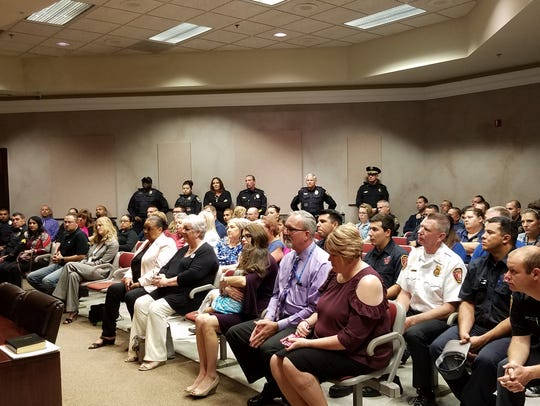Nearly 100 attendees turned out for Peete's swearing