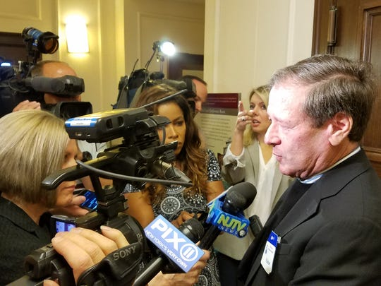 Dennis Drazin, operator of the Monmouth Park racetrack, speaks to reporters after an Assembly committee advanced legislation to legalize sports betting in New Jersey on June 4, 2018.