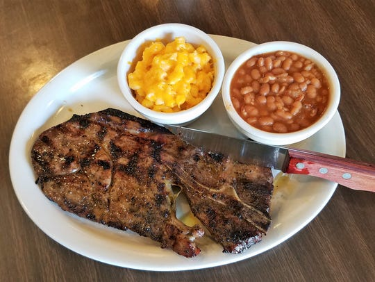 The barbecued pork steak at Froggy's is big and tender,