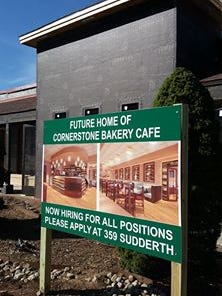 Crews are working to finish the new location of Cornerstone Bakery Cafe at the 1700 block of  Sudderth Drive.