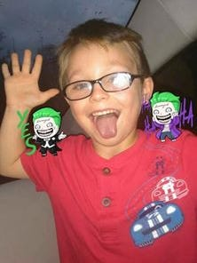 Jacob Hall, 6, who was shot in the leg at Townville Elementary School on Wednesday, Sept. 28, 2016.