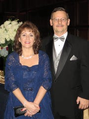 Karen Hartschuh, of Newark, with her husband at the 2013 inaugural ball.