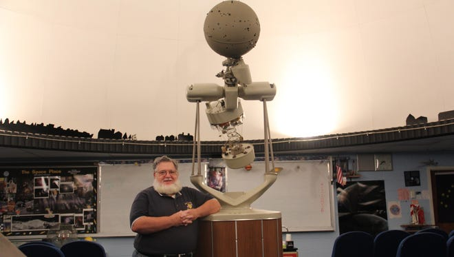 Lenape Valley High School Planetarium Director John Scala at work in the planetarium.