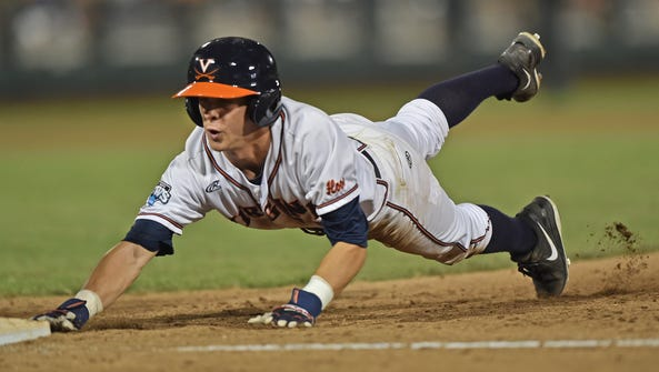 Base runner Ernie Clement #4 of the Virginia Cavaliers