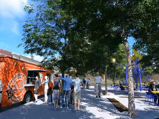 A digital image from the Caddo Common greenspace created by Nicholas and Associates. The Art Bosque Cafe will be a designated food truck court in Shreveport Common in downtown Shreveport.