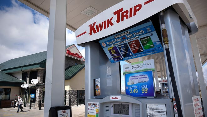 A shopper leave after purchasing items Friday, April 8, at the Kwik Trip store at 9855 Hart Blvd. in Monticello. Kwik Trip is completing an expansion project of eight stores in the St. Cloud area.
