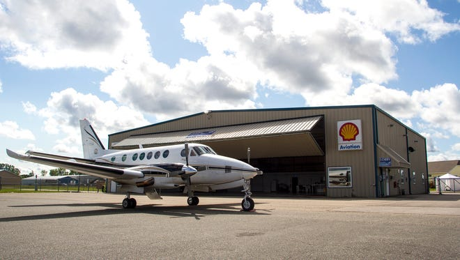 A Beachcraft King Air airplane is parked outside one of the hangars at the St. Clair International Airport Sept. 6.