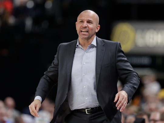 FILE - In this Jan. 8, 2018, file photo, then-Milwaukee Bucks head coach Jason Kidd watches during the second half of an NBA basketball game against the Indiana Pacers, in Indianapolis. Former NBA head coaches Jason Kidd and Lionel Hollins have joined new coach Frank Vogel's staff with the Los Angeles Lakers. The Lakers formally announced Vogel's full coaching staff Wednesday, July 31, 2019. (AP Photo/Darron Cummings, File)