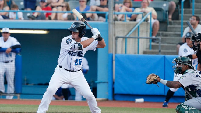 Chris Betts at bat for the Hudson Valley Renegades during Thursday's home opener versus the Vermont Lake Monsters on June 21, 2018.