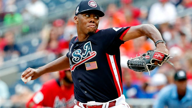Jul 15, 2018; Washington, DC, USA; USA pitcher Hunter Greene (3) pitches in the third inning against the World Team during the 2018 All Star Futures Game at Nationals Ballpark. Mandatory Credit: Geoff Burke-USA TODAY Sports ORG XMIT: USATSI-382990 ORIG FILE ID:  20180715_pjc_sb4_020.JPG