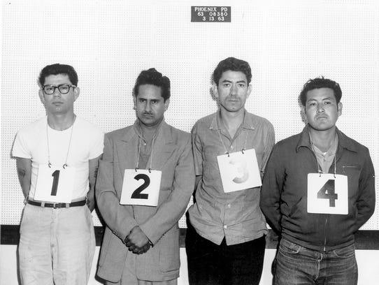 Ernesto Miranda (far left in glasses) in a police lineup