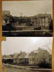 "Above, the South Court Apartments is constructed under a federal government program to provide housing for shipyard workers during World War I. Below, ""detached"" homes also aided in that endeavor. Both were funded by Congress in 1918 in a housing project that was the first of its kind, and many of the homes still stand today."