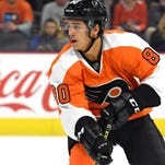 Flyers' forward prospect Travis Konecny, shown here in a preseason game last September, went through a trade and a shoulder injury last year