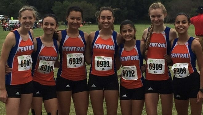From L-R, Haley Bell, Miki Hinojos, Daniela Munoz, Bailey Kinney, Calista Martinez, Olivia Dabbert and Bella Castilleja. The Lady Cats were fourth at the Lubbock Invitational, Saturday, Sept. 23, 2017.