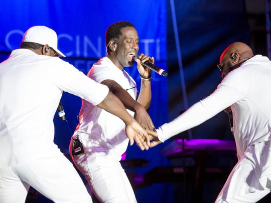 Iconic R&B vocal group Boyz II Men performs for thousands at the 56th Cincinnati Music Festival at Paul Brown Stadium Friday, July 27, 2018 in Cincinnati, Ohio.