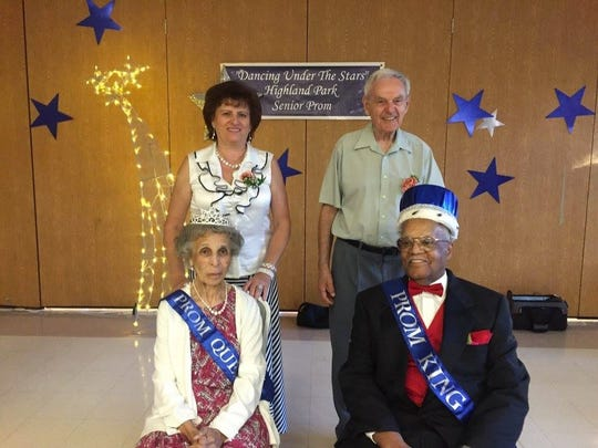 The Highland Park Senior/Youth Center along with the Middlesex County Municipal Alliance hosted the 13th annual Senior Prom in Highland Park on June 14. Pictured sitting are the Senior Prom Queen and King Carol and Carl Wilson. Standing behind them are last year's winners, Katalin Oris and Bill Szalga. The borough's first Annual Senior Prom was conducted in 2004. More than 160 seniors attended this year's event, which included dining, and dancing. Highland Park Borough officials and the Highland Park Police Department also participated in the festivities.