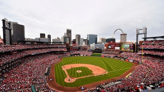 An aerial view of Busch Stadium in St. Louis, home of the Cardinals.