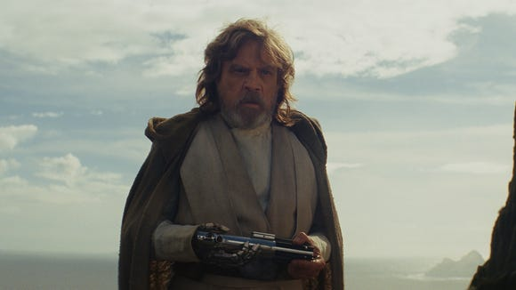 Luke Skywalker (Mark Hamill) is a wiser but more somber version of his old self in 'Star Wars: The Last Jedi.'