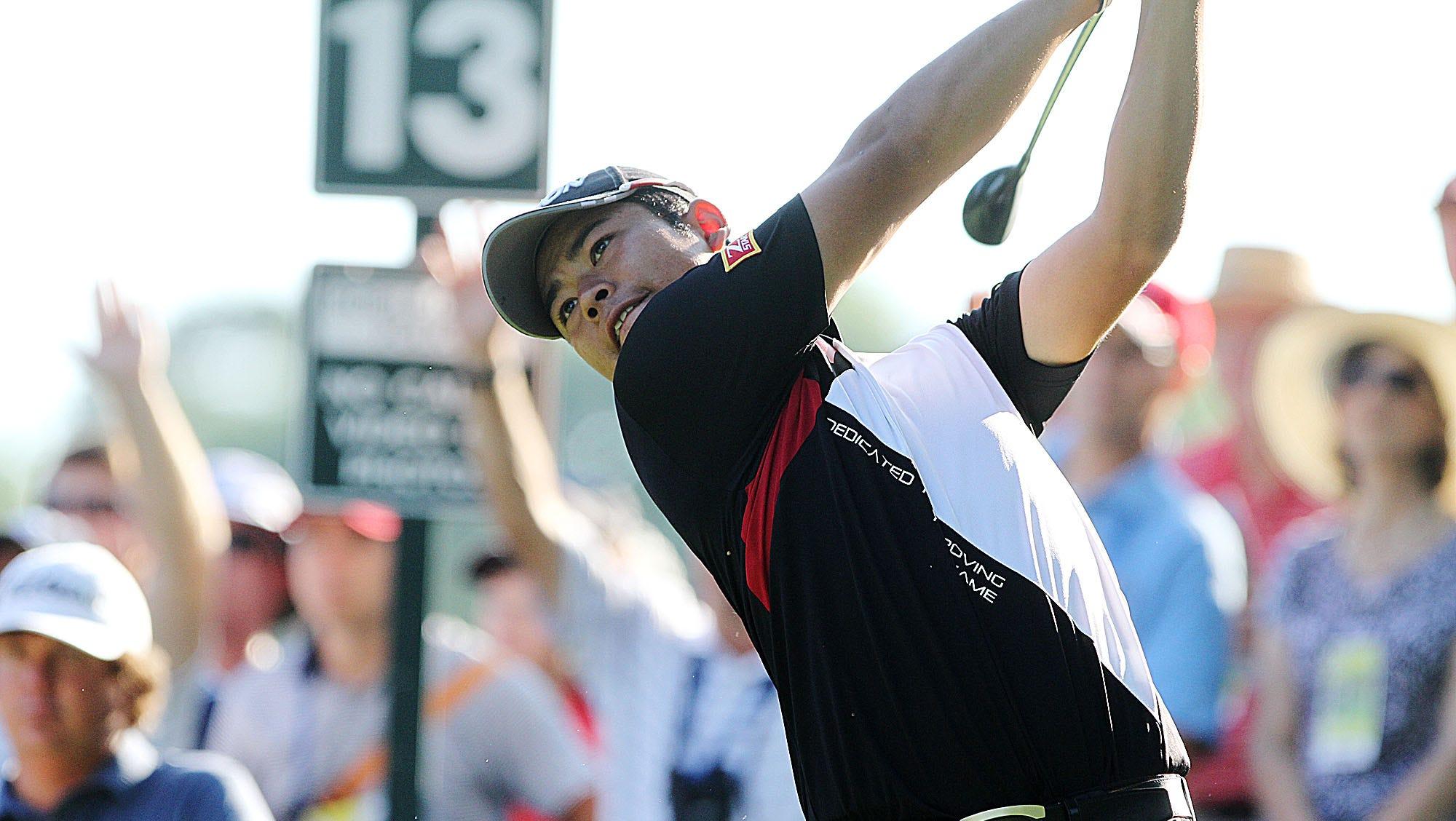 Hideki Matsuyama follows his tee shot off 13. Photo by Tina Yee
