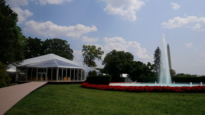 A tent on the South Lawn at the White House for a dinner for Africa leaders on Aug. 5.