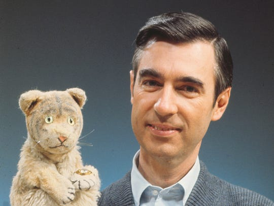 "Fred Rogers with Daniel Tiger from his show ""Mister"