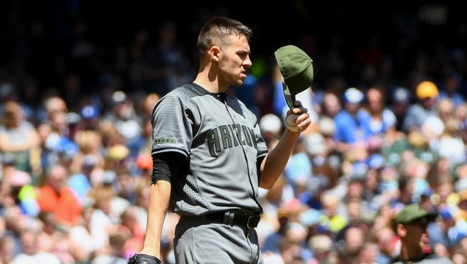 May 28, 2017: Arizona Diamondbacks pitcher Patrick Corbin (46) reacts after allowing a run in the first inning against the Milwaukee Brewers at Miller Park.