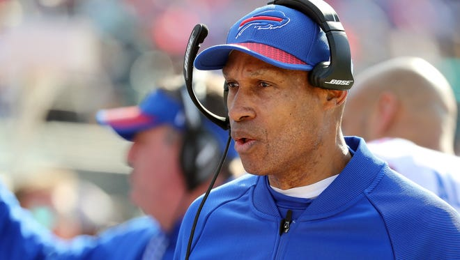 Jan 7, 2018; Jacksonville, FL, USA;Buffalo Bills offensive coordinator  Leslie Frazier during the second quarter of the AFC Wild Card playoff football game against the Jacksonville Jaguars at Everbank Field. Mandatory Credit: Kim Klement-USA TODAY Sports