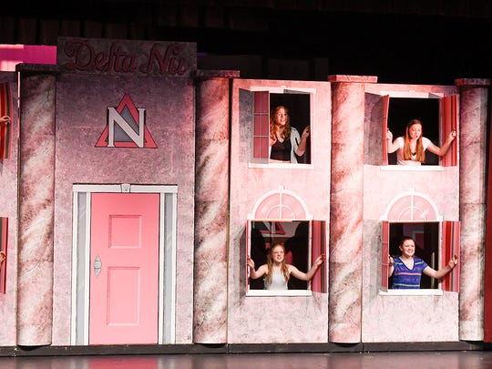 """Rehearsal for the show """"Legally Blonde"""" Thursday, May 5, at the Rocori High School in Cold Spring."""