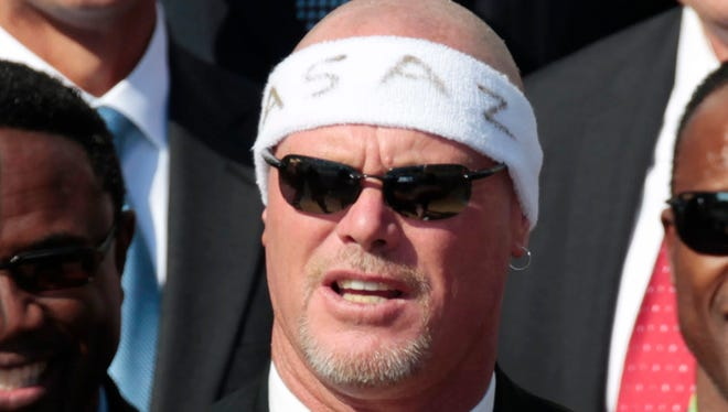 FILE - In this Oct. 7, 2011 file photo, former Chicago Bears quarterback Jim McMahon speaks during a ceremony on the South Lawn of the White House in Washington, honoring the Bears' 1985 Super Bowl XX win.