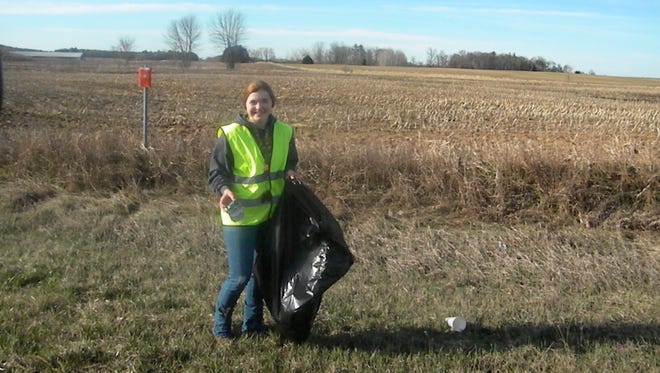 Morgan Vogel, Reedville FFA secretary, helped with the Adopt-A-Highway program last spring along Highway 10 between Reedsville and Brillion.