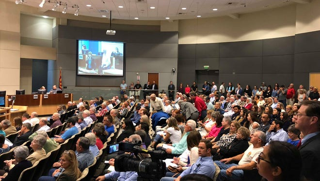 At the beginning of public comment, Yuma City Hall was standing-room only on March 23, 2018.