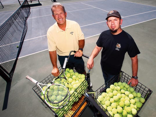 Jerry Pippins, left, of Coronado High School, and Alex Macias of El Paso High School are this year's El Paso Times All-City Tennis Coaches of the Year. Four Coronado players reached the Class 6A state tournament and El Paso dominated Class 5A teams in El Paso.