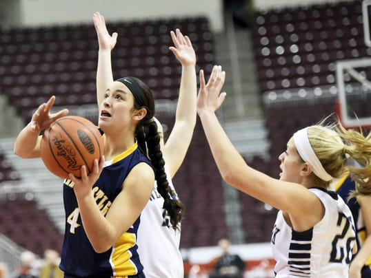 After a strong freshman campaign, Greencastle's Jenay Faulkner (4) took another leap forward this season. She led the team in points, blocks and steals and was second in rebounds and assists, leading the Blue Devils to their first-ever District 3 title and PIAA Tournament appearance.