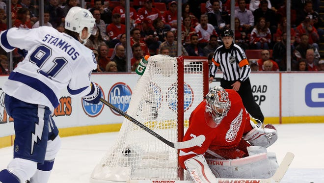 Detroit Red Wings goalie Petr Mrazek (34) stops a Tampa Bay Lightning center Steven Stamkos (91) shot during the first period of Game 3.