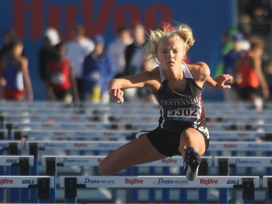 Ankeny Centennial junior Katie Petersen competes in