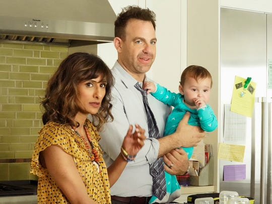 "NBC's ""I Feel Bad"" stars Sarayu Blue as Emet, a mom married to David (Paul Adelstein), whose life is less than perfect. Amy Poehler serves as an executive producer on the new comedy."