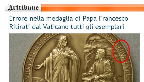A spelling error is shown on a papal medal produced for the Vatican.