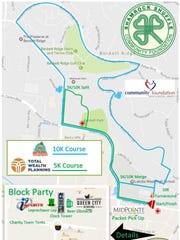 Both a 10K, blue; and 5K, green, course are offered